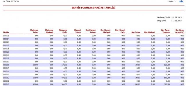 servis formları maliyet analizi