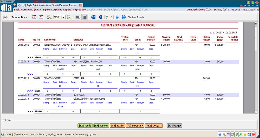 sipariş karşılama raporu