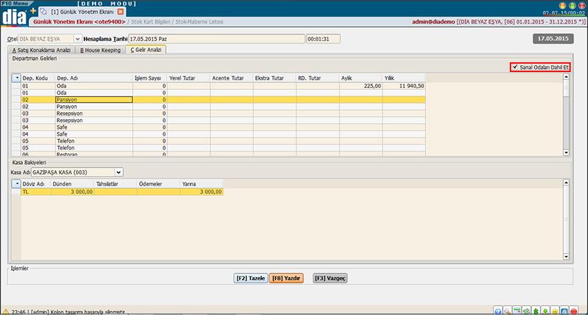günlük yönetim ekranı