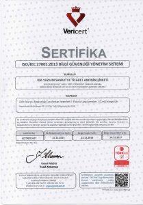 DİA - ISO 27001 Belgesi - 2016